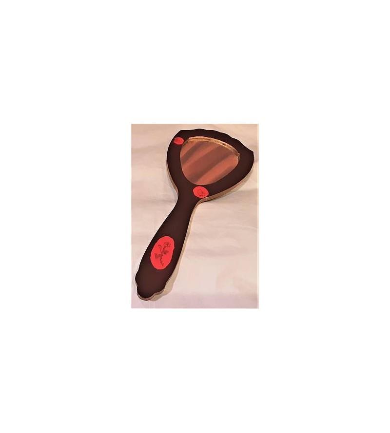 Miroir marron et rouge en bois pyrogravé, motif roses