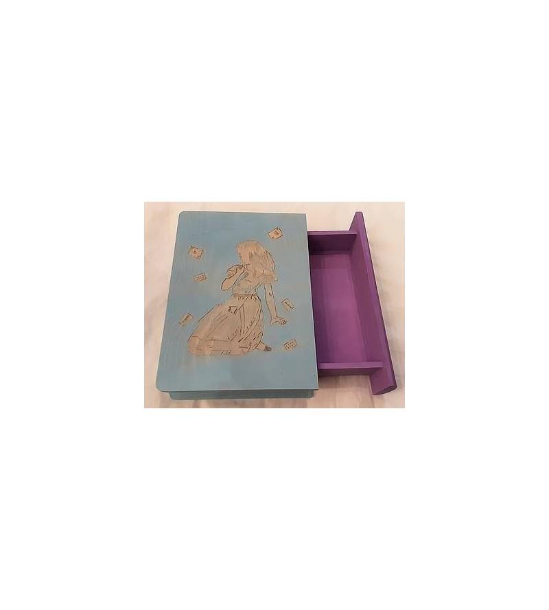 Boîte-livre en bois pyrogravé motif Alice au pays des merveilles