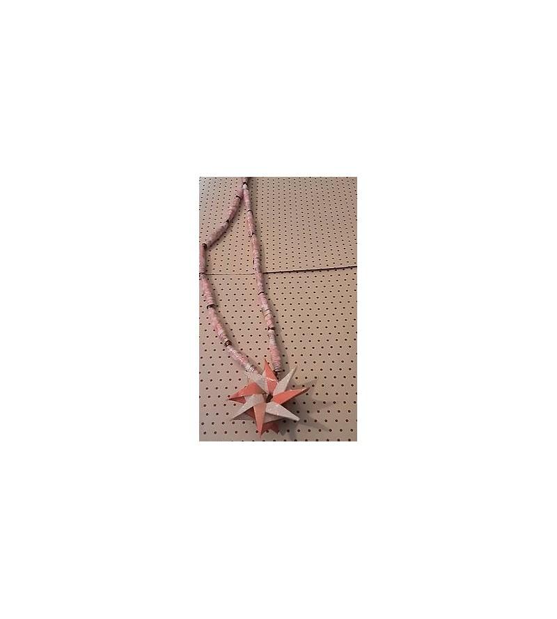 Collier en origami fleur rose