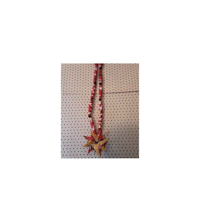 Collier en origami fleur rouge