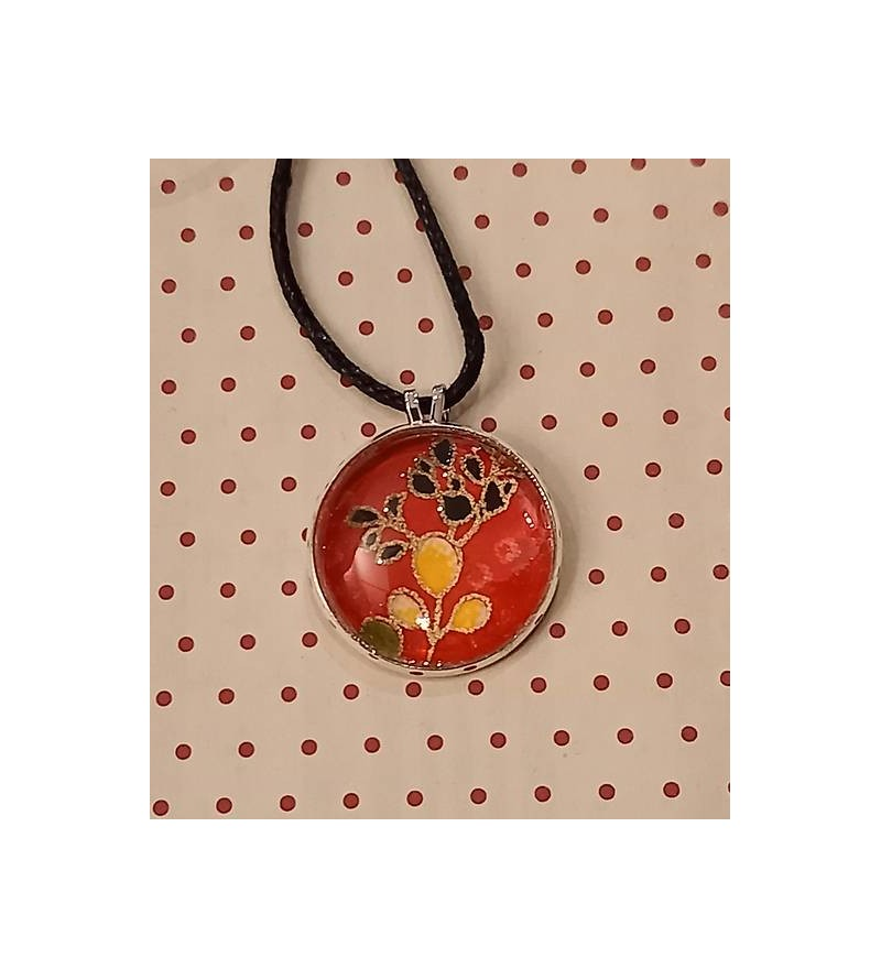 Collier cabochon origami rouge