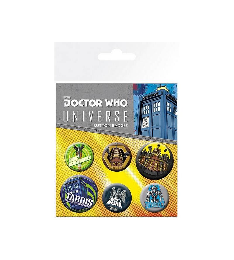 Lot de 6 badges Doctor Who...