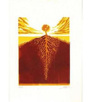 Linogravure Sébastien Hayez : Tree roots 12