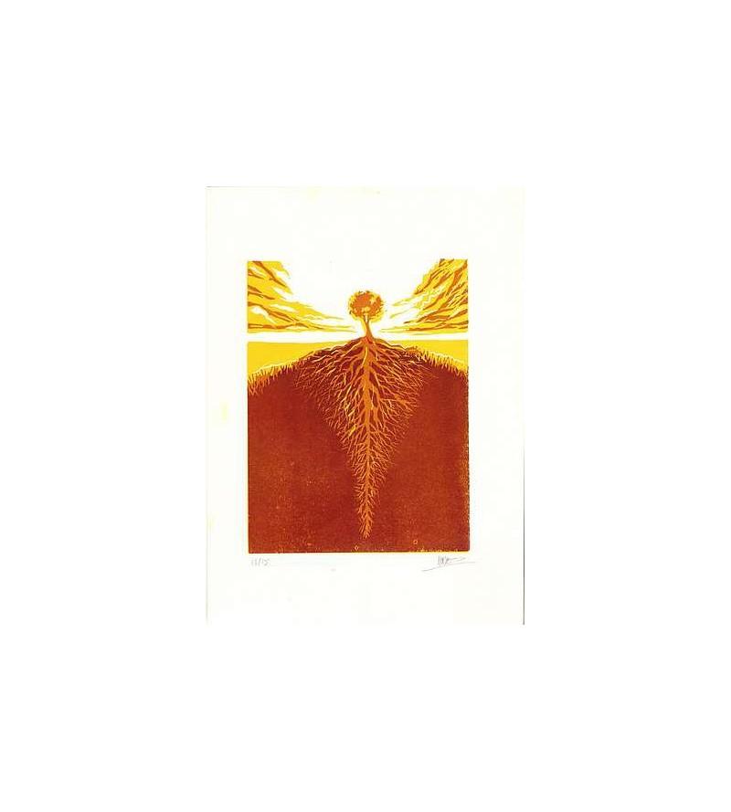 Linogravure Sébastien Hayez : Tree roots 13