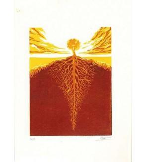 Linogravure Sébastien Hayez : Tree roots 14