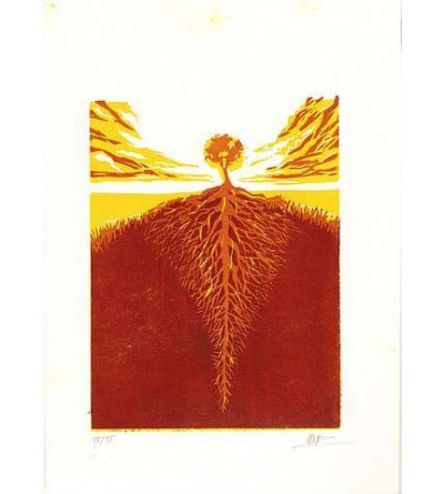 Linogravure Sébastien Hayez : Tree roots 15