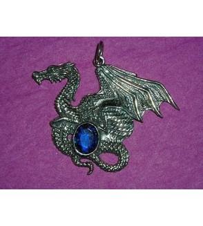 Pendentif dragon en argent + pierre