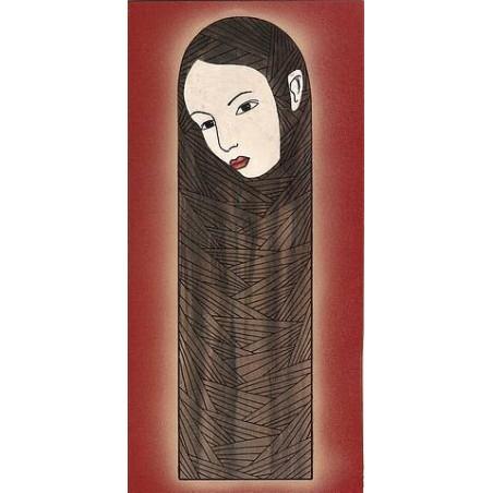 Boite en bois, visage féminin