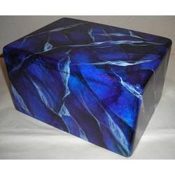 Boite en bois peinte en bleu, imitation marbre
