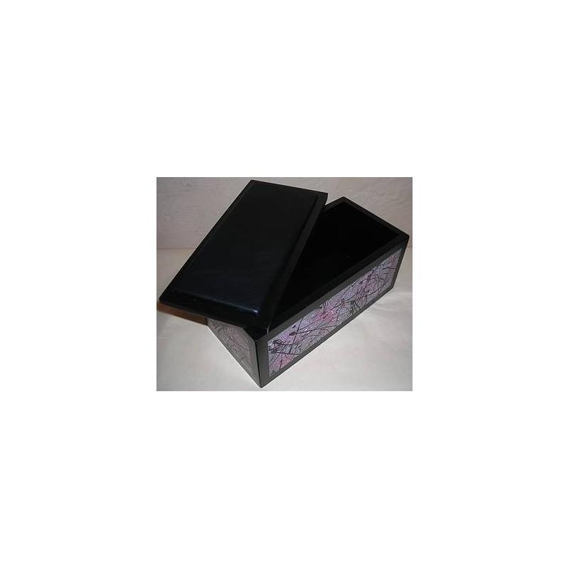 Boite en bois rose / grise / noire, motif femme et bandelettes