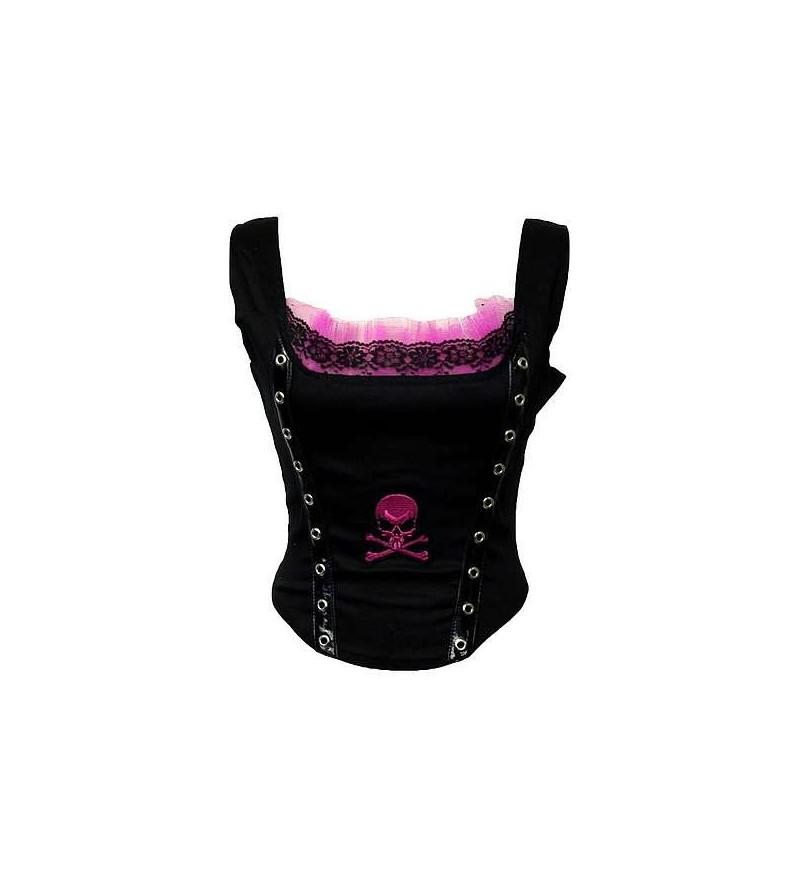 Bustier noir et rose, motif crâne