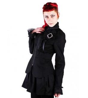 Veste noire avec broche en dentelle