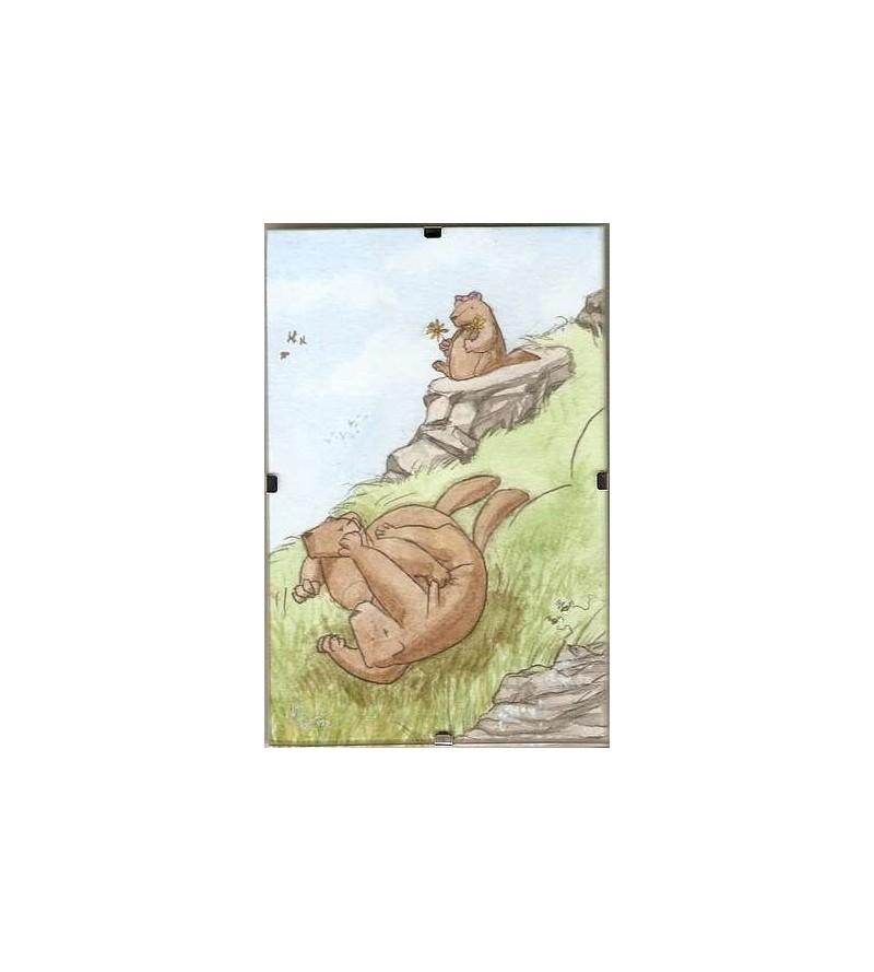 Cadre Marmottes et montagne